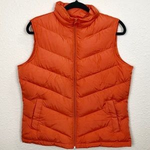 Lands End Orange Puffer Vest